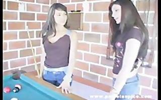 latina lesbos sex on pool table
