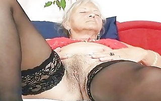 ugly grandma cecilie toys her shaggy snatch