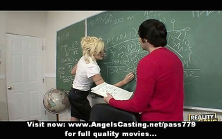hawt blond teacher has twat licked and does oral