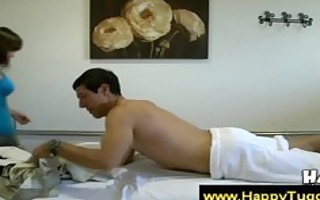 oriental goes exposed during massage