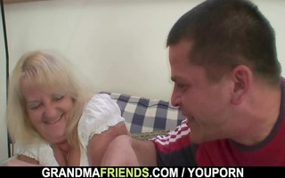 blond granny in sexy trio fuckfest
