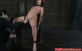 immobilzed sub receives bawdy cleft widen open