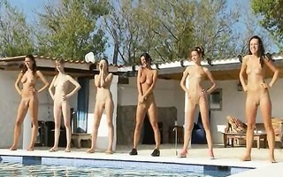 six stripped women by the pool from russian