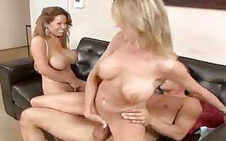 sex crazed milfs with large mambos have ffm trio