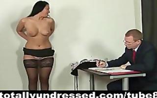 brunette hair secretarys job interview