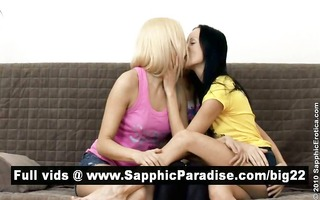 carnal dark brown and golden-haired lesbian babes