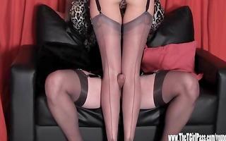 lustful crossdresser has footjob and tit stroke