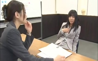 office lady enticed by lesbian during interview