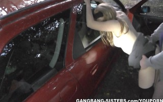 dogging whore team-fucked in parking lot
