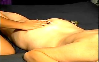 blond chick in lesbian act with an asian