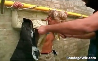 messy whore is being bound with ropes part9